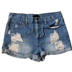 Forever 21 ripped distressed denim jean shorts